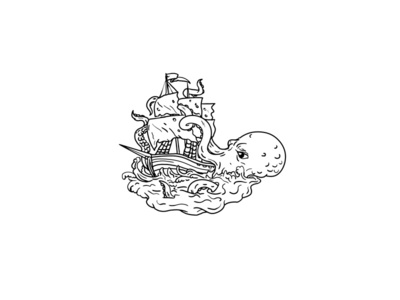 Kraken Attacking Sailing Ship Doodle Art