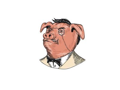 Aristocrat Pig Monocle Tuxedo Drawing