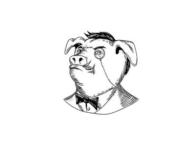 Aristocratic Pig Monocle Black and White Drawing