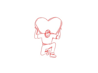 Modern Atlas Lifting Heart on Back Drawing red worker guy kneel shoulder back kneeling organ carry lift male giant heart carrying lifting man heart atlas modern atlas doodle drawing