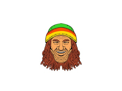 Rastafarian Head Front Drawing Color