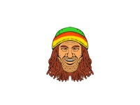 Rastafarian Head Front Drawing Color