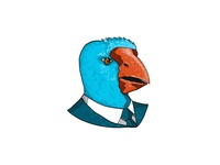 South Island Takahe in Business Suit Drawing