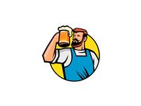 Bearded Hipster Toasting Beer Mug Circle Mascot