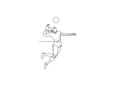 Volleyball Player Striking Ball Continuous Line