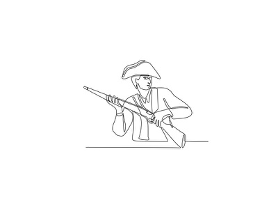 American Minuteman Patriot Continuous Line monoline mono-weight warrior officer male man military soldier militia hero muzzle-loaded long gun minuteman rifle musket revolutionary soldier american patriot american minuteman mono line continuous line