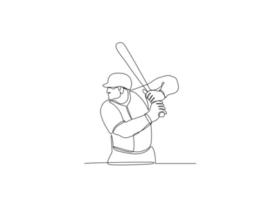 Baseball Player Batting Continuous Line