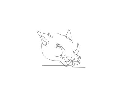 Wild Pig Head Continuous Line