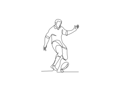 Rugby Player Kicking Ball Continuous Line