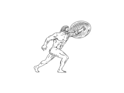 Heracles With Shield Urging Forward Drawing Black and White