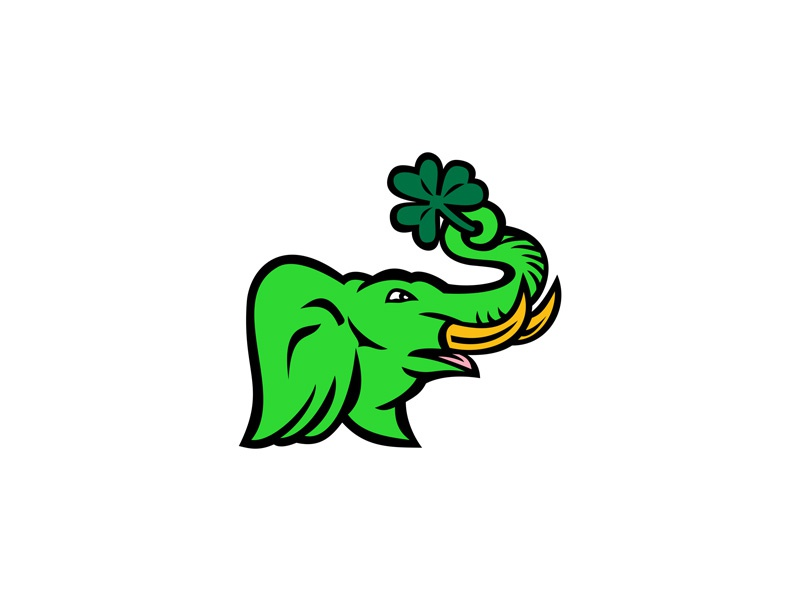 Green Elephant Shamrock Icon symbol trunk holding three-leaved plant pachyderm white clover plant ireland leaf clover leaf sprig tusk green irish elephant shamrock green elephant sign retro icon