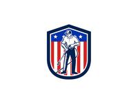American Pressure Washing USA Flag Shield Retro