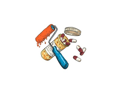 Paint Roller Medicine Capsule Bottle Drawing Color