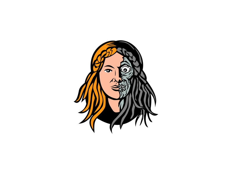 Hel Norse Goddess of Death Head Retro death dead girl woman female face underworld myth norse mythology goddess bones skeleton half bones half flesh goddess of death norse hel head icon mascot