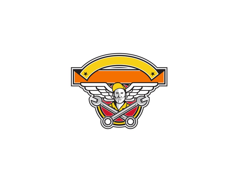 Crew Chief Crossed Spanner Army Wings Banner Icon crossed spanner noncommissioned officer ground crew air force aircraft mechanic mechanic military pilot soldier army air force wings wing army wings aviator wrench crossed spanner crew chief retro icon
