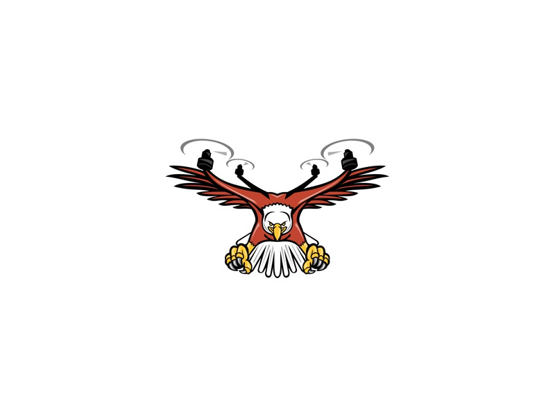 Half Eagle Half Drone Swooping Mascot unmanned aerial vehicle attacking bird swoop talons swooping propellers sea eagle american eagle bald eagle quadcopter drone rotor rotorcraft quadcopter eagle drone half drone half eagle icon mascot
