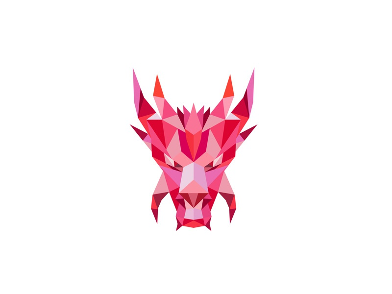 Dragon Head Front Low Polygon Style abstract 3d polyhedron polygonal serpent legendary front monster creature legend myth mythology mythical folklore serpent-like head mythical dragon dragon low polygon low poly