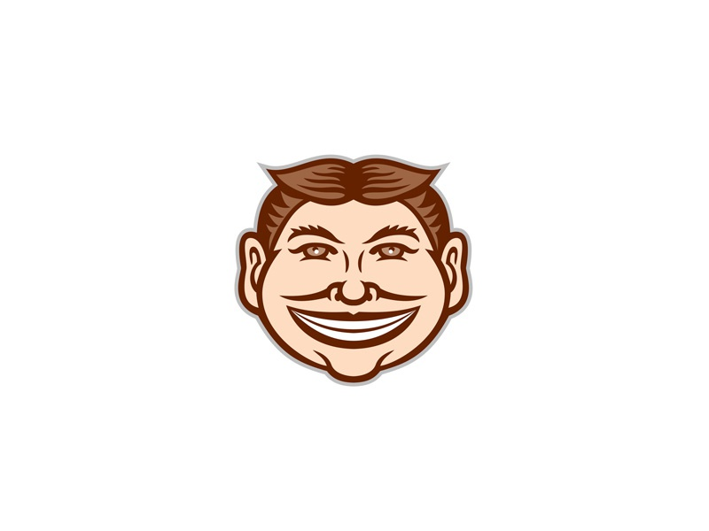 Funny Face Front Icon Retro symbol sign retro iconic happy weird mug steeplechaser face steeplechase face sly slyly smiling leering beaming mug grinning funny face head icon mascot