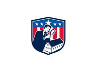 American School Inspector  USA Flag Icon Retro