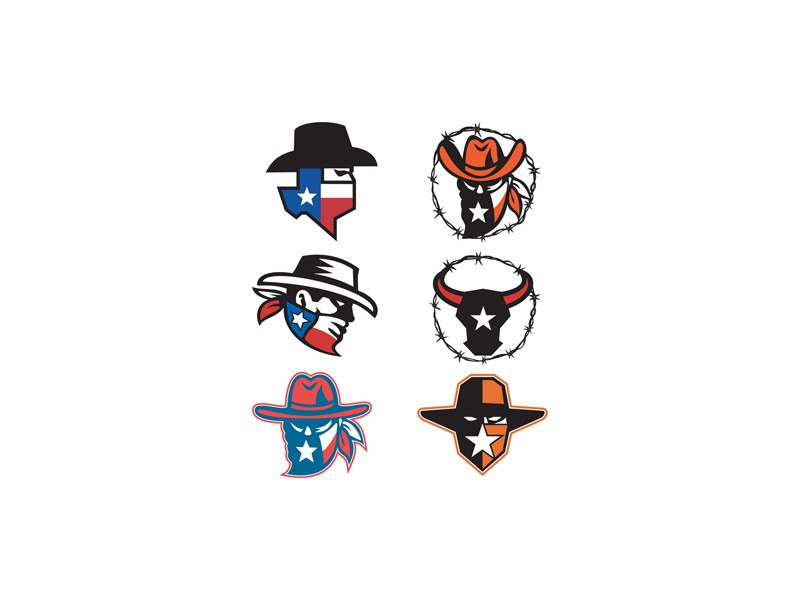 Texas Outlaw Mascot Collection man flag american star lone star state lone star cow bull longhorn texas texan texas longhorn bull maverick highwayman outlaw bandit texan outlaw head icon mascot