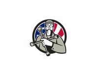 American Tire Mechanic Holding Tire Wrench USA Flag Circle Retro