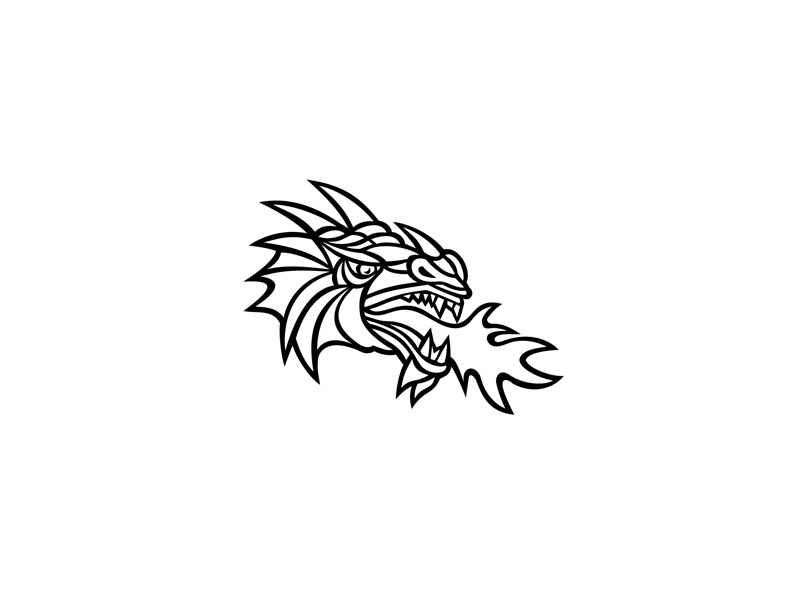 Mythical Dragon Breathing Fire Mascot sporting logo brand team mascot identity character symbol sign retro breathing fire fire creature legendary serpent-like mythical dragon mythical dragon head icon mascot