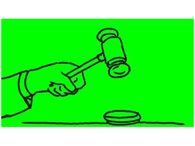 Gavel Hitting Wooden Block Drawing 2D Animation