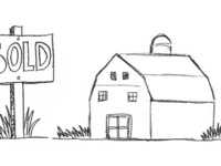 American Farm Barn Sold Sign Drawing 2D Animation