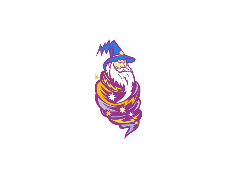 Wizard Tornado Mascot head arcane occult supernatural fantasy sorcerer enchanter witch warlock mage magic magician typhoon storm hurricane wind tornado wizard icon mascot