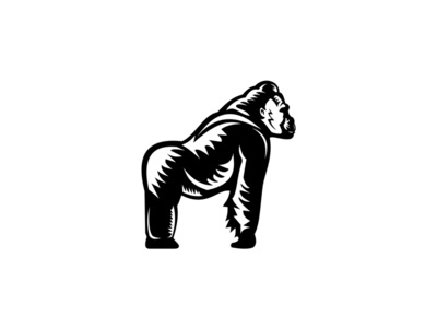 Silverback Gorilla Side View Woodcut