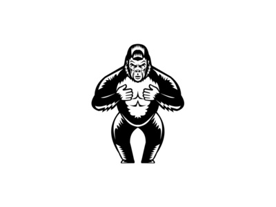 Silverback Gorilla Beating Chest Woodcut