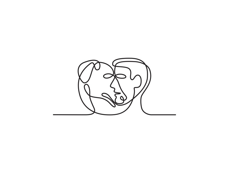 Man and Dog Face Side Continuous Line single thickness wire-look unbroken line drawing monoline mono-weight profile side view head person face-off face side pet male canine man dog mono line continuous line
