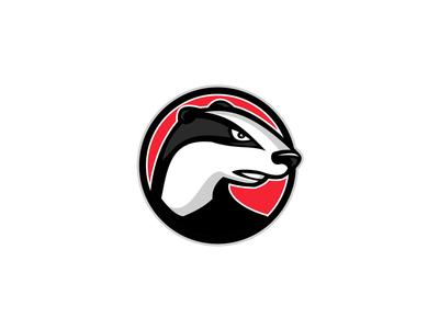 Badger Head Circle Mascot