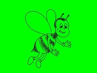 Busy Bee Waving Flying Drawing 2D Animation