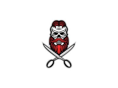 Skull Hair and Beard Scissors Mascot