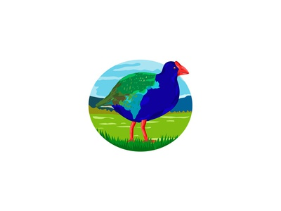 South Island Takahe Bird Oval Retro