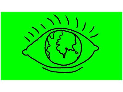 Eye With Earth Globe as Eyeball Drawing 2D Animation map planet looking seeing see sight eyelashes blink blinking rotate pupil iris eyeball globe earth motion graphics human eye eye 2d animation animation