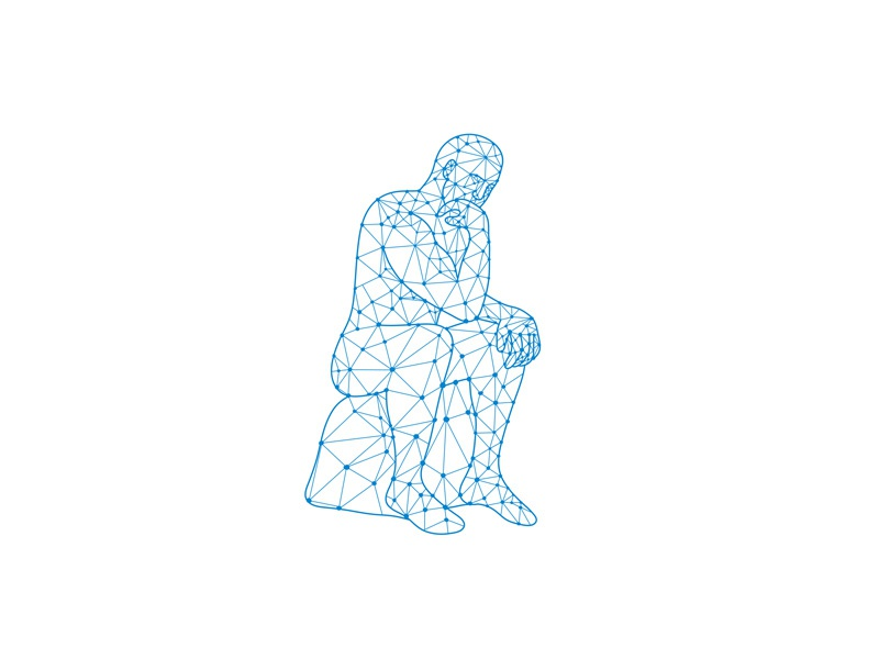 Future Man Thinking Nodes abstract low polygon nodal study studying studious intelligent rational judgement pondering thoughts sitting statue think thinking thinker future man male man nodes mosaic