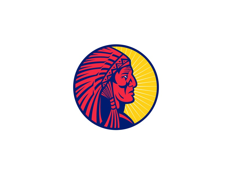 Old Native American Chief Headdress Circle symbol sign retro leader feather headdress brave warrior american plains indians nations elder senior warbonnet war bonnet indian chief chief native american old head icon mascot