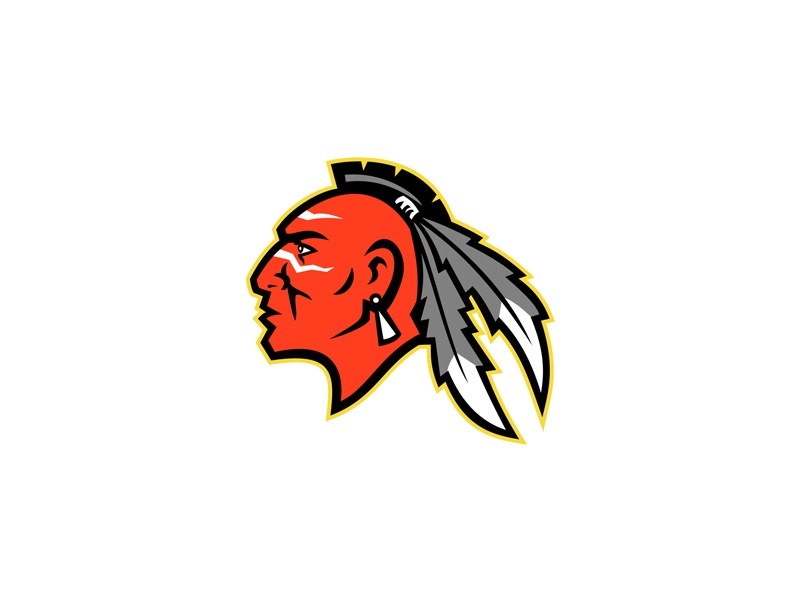 Mohawk Brave Warrior Head Side Mascot school mascot sports mascot sporting logo brand team mascot identity native american north america indigenous people haudenosaunee iroquois confederacy iroquoian warrior chief brave iroquois mohawk icon mascot