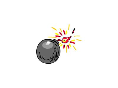 Black Ball Bomb Burning Fuse Drawing