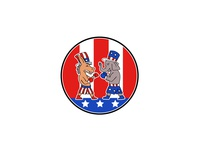 American Donkey and Elephant Boxing USA Flag Doodle