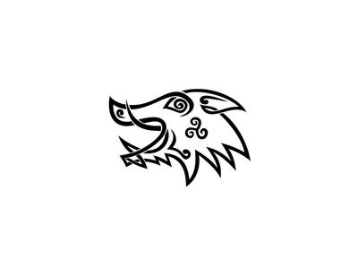 Boar Head Celtic Knot Black and White Stencil