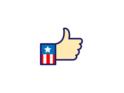 American Hand Thumbs Up Icon retro okay approve approval hand stars and stripes extended upward interference recommend button like option like button hand gesture thumb signal thumbs up like icon