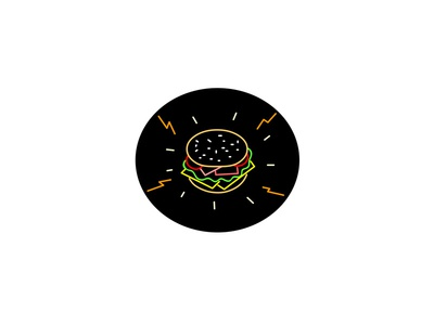 Cheeseburger Retro Neon Sign Oval