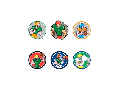 American Football Player Circle Cartoon Collection Set
