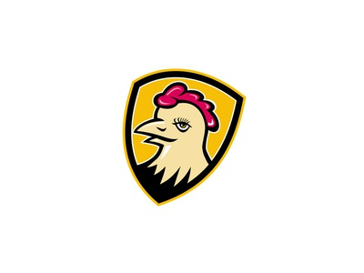 Hen Head Shield Mascot