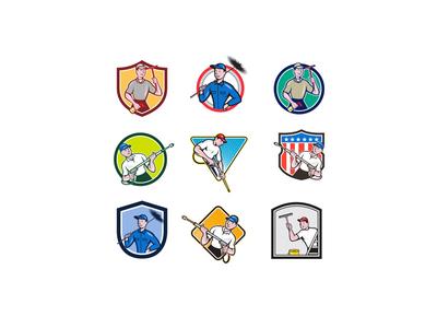 Cleaner Icon Cartoon Set