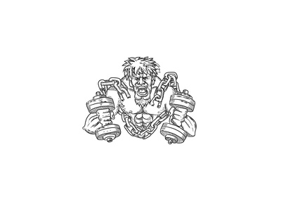 Muscular Male With Dumbbells Breaking Free From Chains Drawing goatie beard restrain shackle enslave strong strength physical fitness exercise chained chains breaking free dumbbells athlete ripped buffed muscular drawing caricature cartoon
