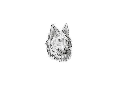 Dutch Shepherd  Dog Breed Cartoon Retro Drawing